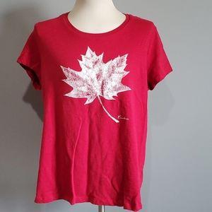 Women's XXL Canadiana Teeshirt, Red with Maple lea